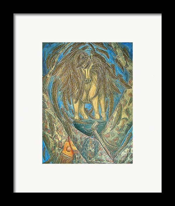 Animals Framed Print featuring the painting Shaman Spirit by Kim Jones
