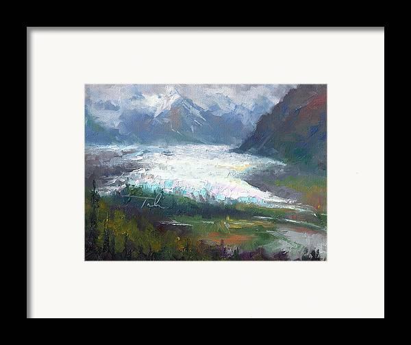 Alaska Framed Print featuring the painting Shifting Light - Matanuska Glacier by Talya Johnson