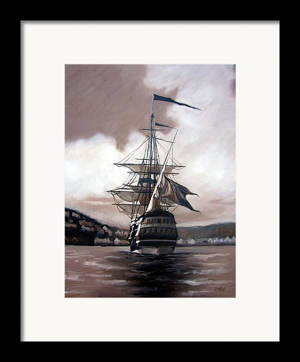 Pirate Ship Framed Print featuring the painting Ship In Sepia by Janet King