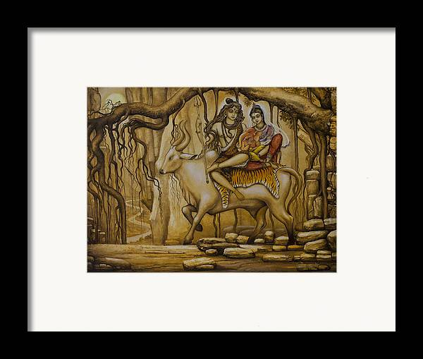 Shiva Framed Print featuring the painting Shiva Parvati Ganesha by Vrindavan Das