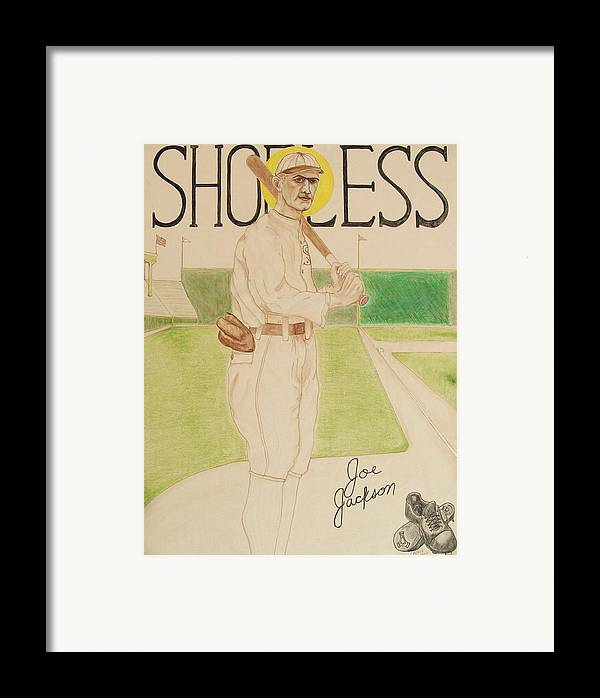 Shoeless Framed Print featuring the painting Shoeless Joe Jackson by Rand Swift
