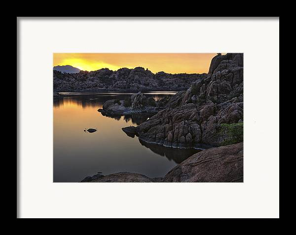 Solar Framed Print featuring the photograph Smoky Sunset On Watson Lake by Dave Dilli