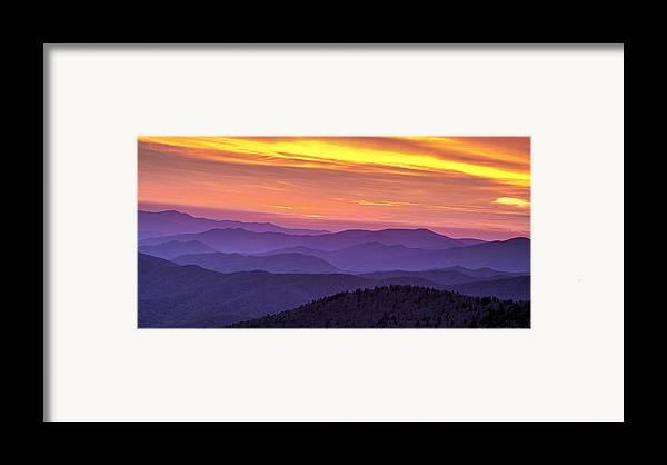 Smokies Framed Print featuring the photograph Smoky Sunset Panorama by Andrew Soundarajan
