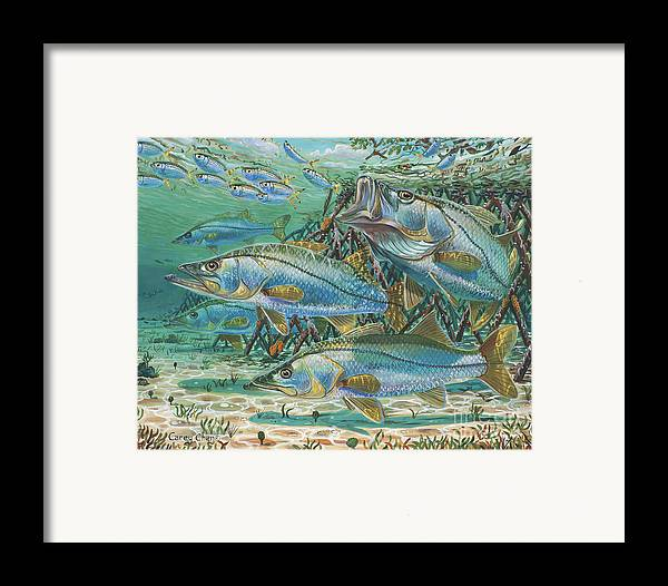 Snook Framed Print featuring the painting Snook Attack In0014 by Carey Chen