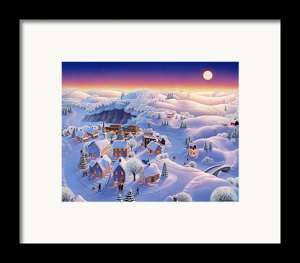 Winter Landscapes Framed Print featuring the painting Snow Covered Village by Robin Moline