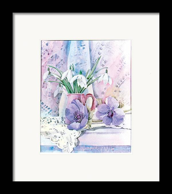 Julia Rowntree Framed Print featuring the photograph Snowdrops And Anemones by Julia Rowntree