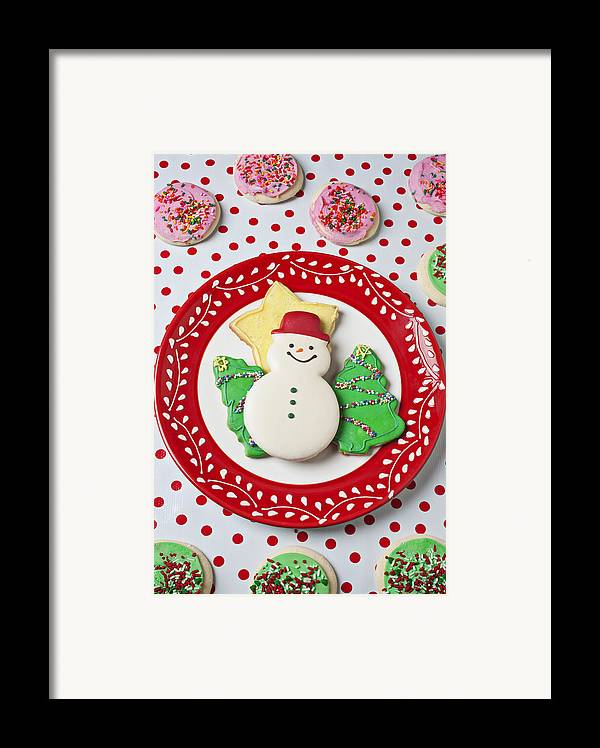 Cookies Framed Print featuring the photograph Snowman Cookie Plate by Garry Gay