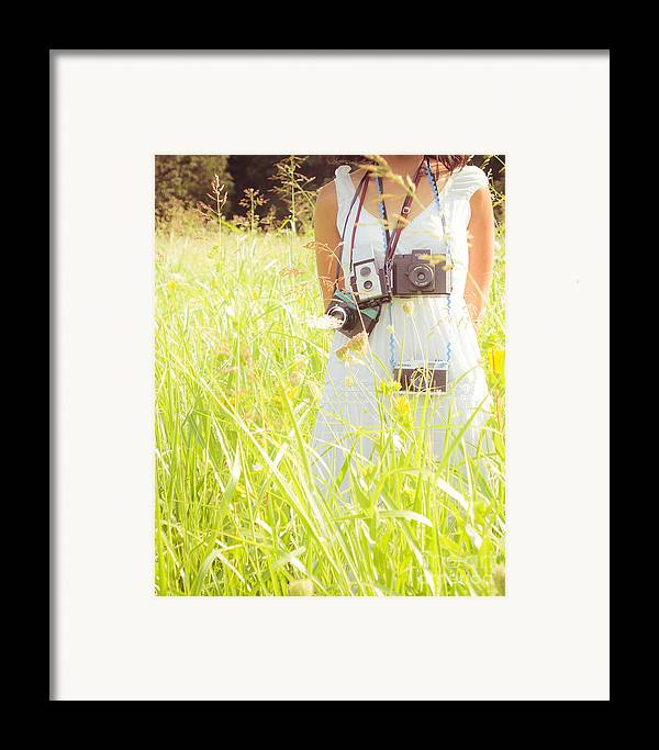 Portrait Framed Print featuring the photograph So Many Cameras So Little Time by Sonja Quintero