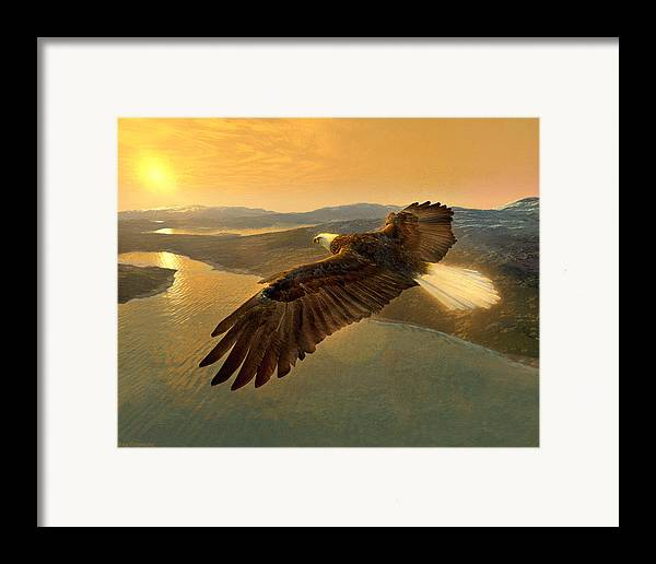 Eagle Framed Print featuring the digital art Soaring Eagle by Ray Downing