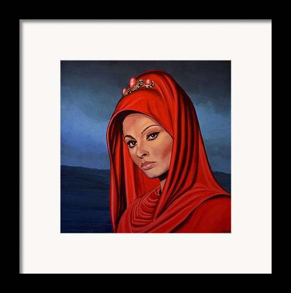 Sophia Loren Framed Print featuring the painting Sophia Loren by Paul Meijering