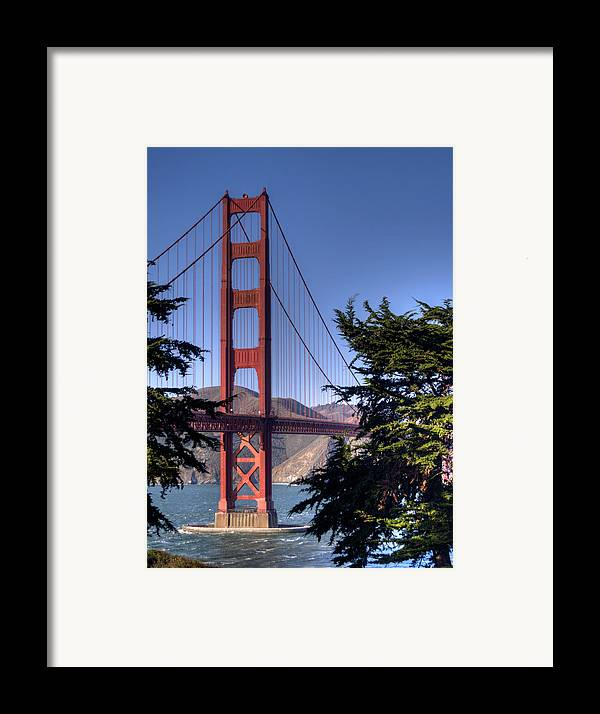 Golden Gate Bridge Framed Print featuring the photograph South Tower by Bill Gallagher