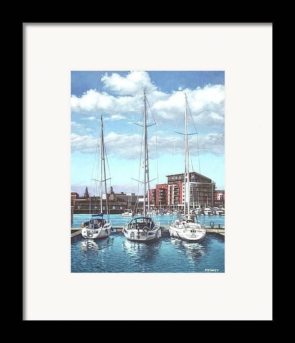 Southampton Framed Print featuring the painting Southampton Ocean Village Marina by Martin Davey