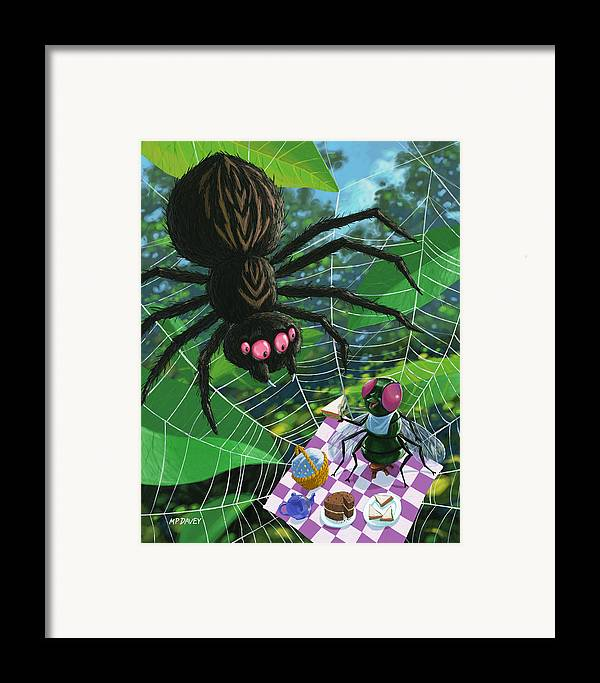 Picnic Framed Print featuring the painting Spider Picnic by Martin Davey