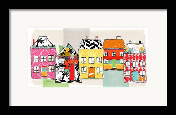 Houses Framed Print featuring the mixed media Spirit House Row by Linda Woods