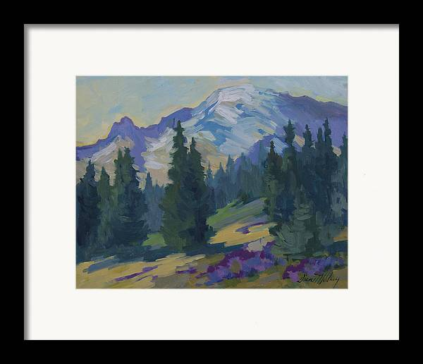 Mount Rainier Framed Print featuring the painting Spring At Mount Rainier by Diane McClary