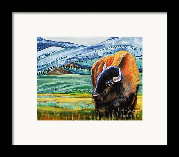 Bison Framed Print featuring the painting Spring Storm by Harriet Peck Taylor