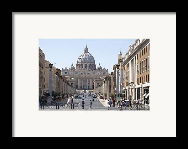 Worth Framed Print featuring the photograph St Peter Basilica Viewed From Via Della Conciliazione. Rome by Bernard Jaubert