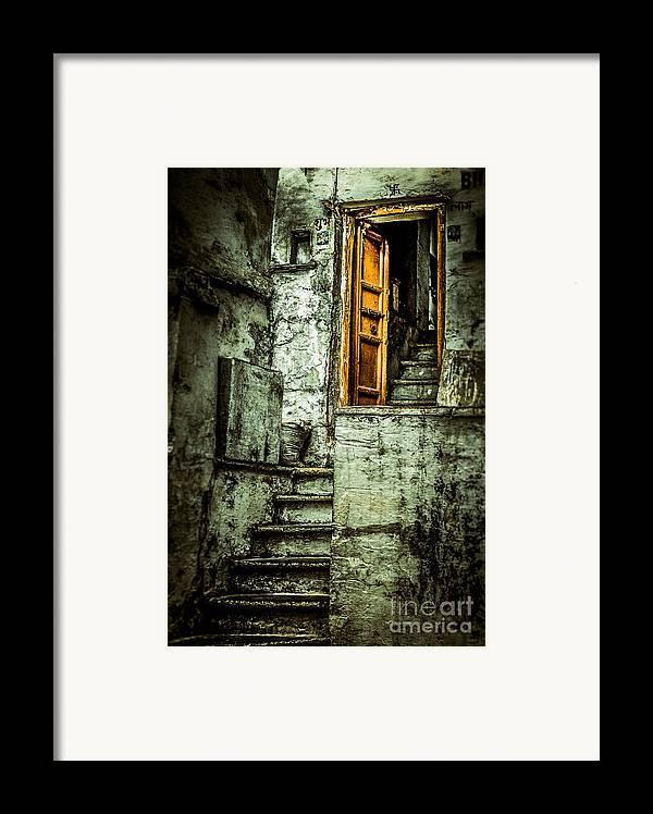 India Framed Print featuring the photograph Stairs Leading To The Old Door by Catherine Arnas
