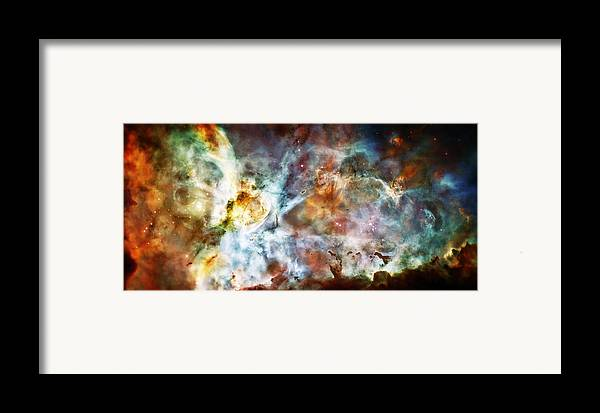Universe Framed Print featuring the photograph Star Birth In The Carina Nebula by The Vault - Jennifer Rondinelli Reilly