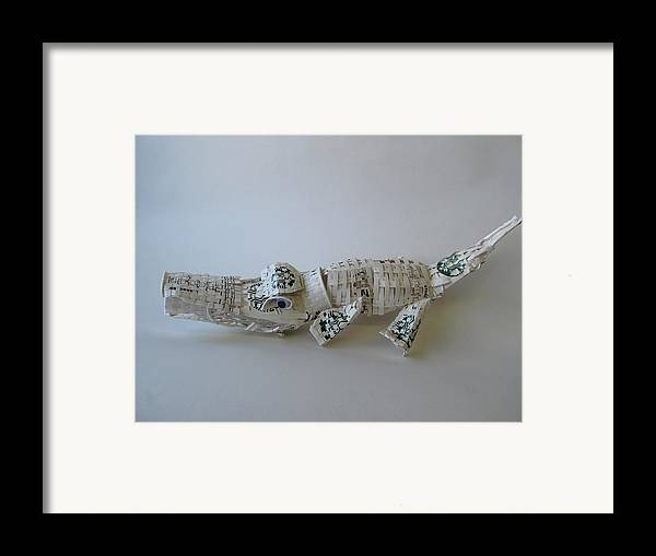 Coffee Framed Print featuring the sculpture Starbucks Gator by Alfred Ng