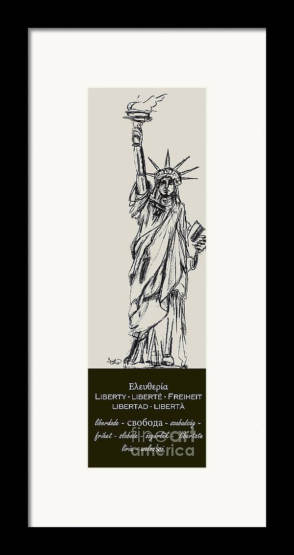 4th Of July Framed Print featuring the drawing Statue Of Liberty New York by Ginette Callaway