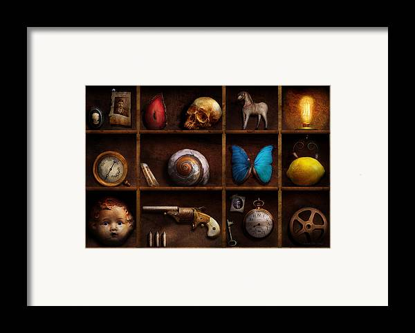 Steampunk Framed Print featuring the photograph Steampunk - A Box Of Curiosities by Mike Savad