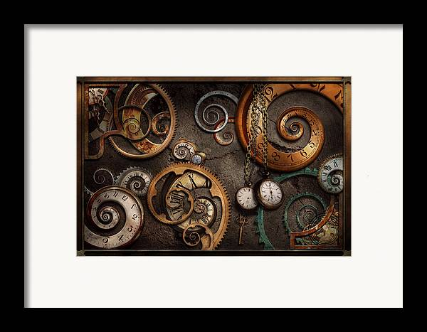Steampunk Framed Print featuring the photograph Steampunk - Abstract - Time Is Complicated by Mike Savad