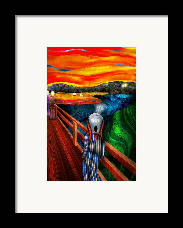 Self Framed Print featuring the digital art Steampunk - The Scream by Mike Savad