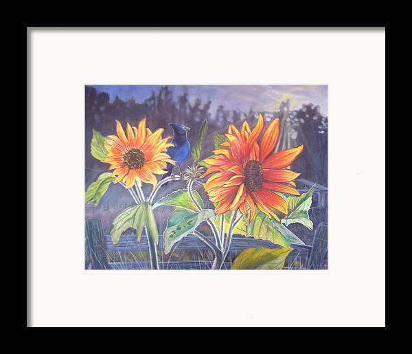 Stellar Jay Framed Print featuring the painting Stellar Sunflower by Rayna DeHoog