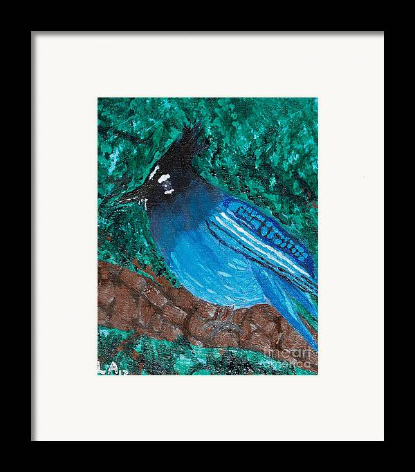 Stellar's Jay Framed Print featuring the painting Stellar's Jay by Lloyd Alexander