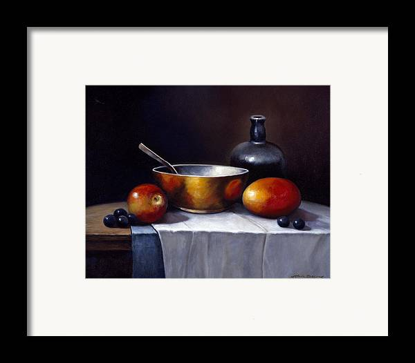 Pallet Framed Print featuring the painting Still Life Rhapsody by John Zaccheo