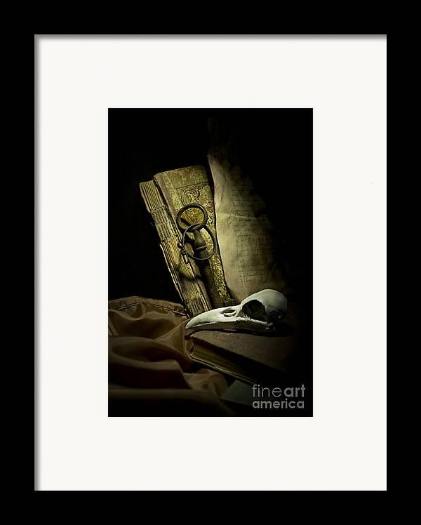 Still Life Framed Print featuring the photograph Still Life With A Bird Skull by Jaroslaw Blaminsky