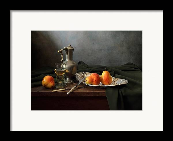 Fine Art Photograph Framed Print featuring the photograph Still Life With A Jug And Roamer And Pears by Helen Tatulyan