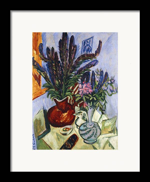1910s Framed Print featuring the painting Still Life With A Vase Of Flowers by Ernst Ludwig Kirchner