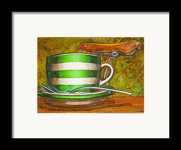 Stripes Framed Print featuring the painting Still Life With Green Stripes And Saddle by Mark Howard Jones