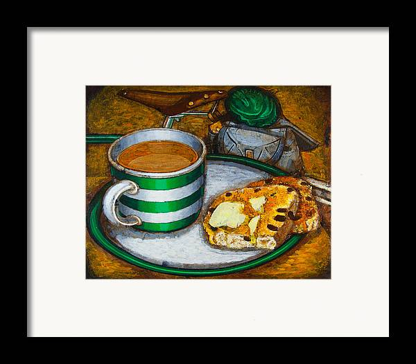 Tea Framed Print featuring the painting Still Life With Green Touring Bike by Mark Howard Jones