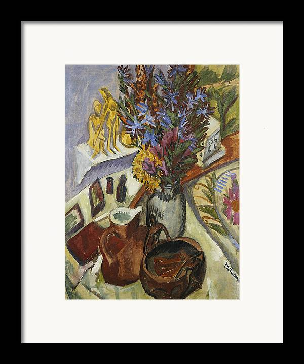 1910s Framed Print featuring the painting Still Life With Jug And African Bowl by Ernst Ludwig Kirchner