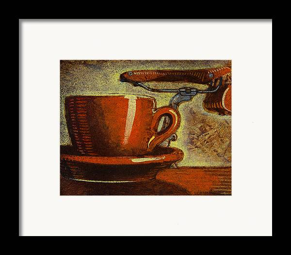 Coffee Framed Print featuring the painting Still Life With Racing Bike by Mark Howard Jones