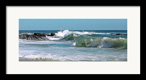 Blue Framed Print featuring the photograph Stormy Lagune - Blue Seascape by Ben and Raisa Gertsberg