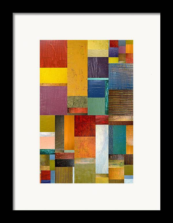Textural Framed Print featuring the painting Strips And Pieces Ll by Michelle Calkins