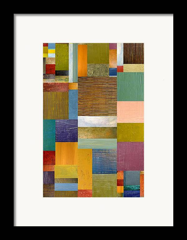 Textural Framed Print featuring the painting Strips And Pieces Lv by Michelle Calkins