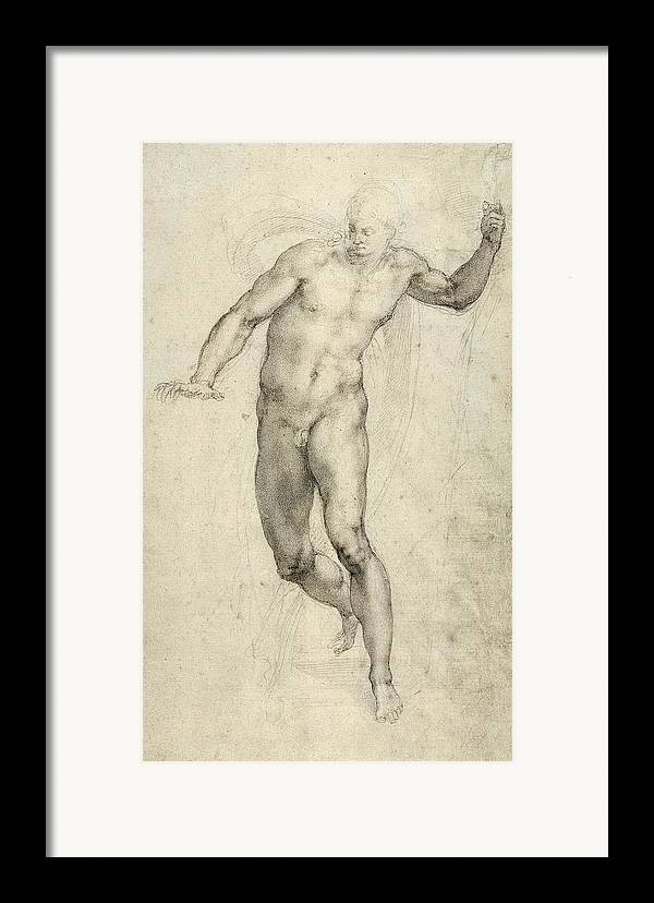 Sketch Framed Print featuring the painting Study For The Last Judgement by Michelangelo Buonarroti