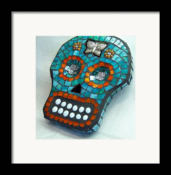 Dotd Framed Print featuring the glass art Sugar Skull by Jenny Bowman