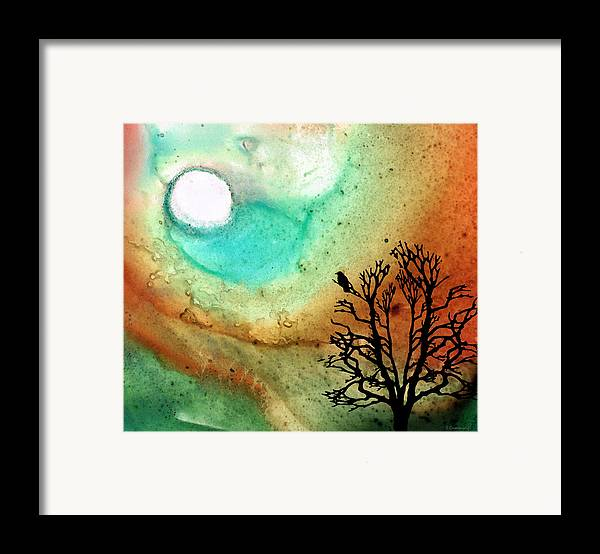 Moon Framed Print featuring the painting Summer Moon - Landscape Art By Sharon Cummings by Sharon Cummings