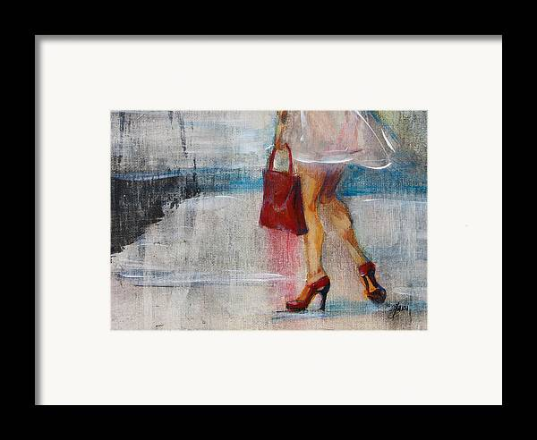 Urban Framed Print featuring the painting Summer Rain by Jani Freimann