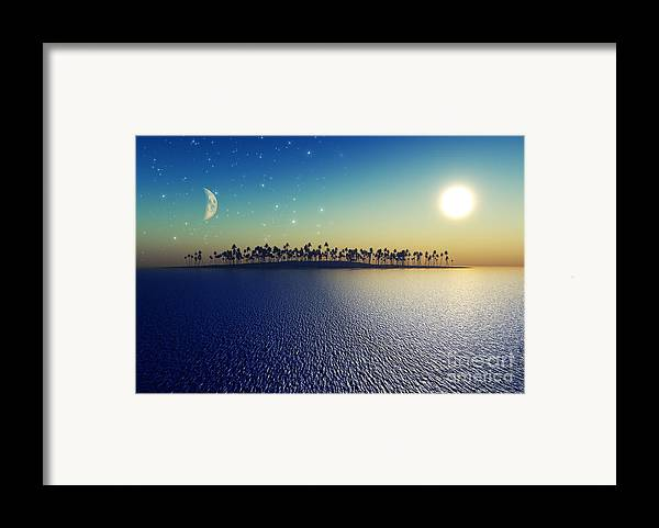 Islands Framed Print featuring the digital art Sun And Moon by Aleksey Tugolukov