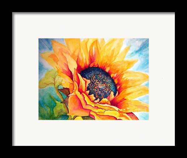 Sunflower Framed Print featuring the painting Sunflower Joy by Janine Riley