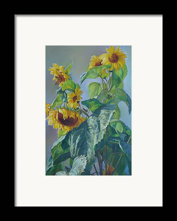 Sunflower Framed Print featuring the painting Sunflowers After The Rain by Svitozar Nenyuk