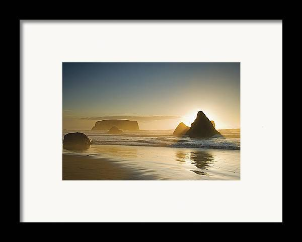 Sunset Framed Print featuring the photograph Sunset Behind Offshore Rocks Bandon by Philippe Widling