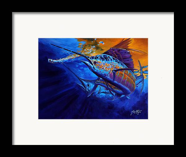 Fly Fishing Framed Print featuring the painting Sunset Bite by Savlen Art